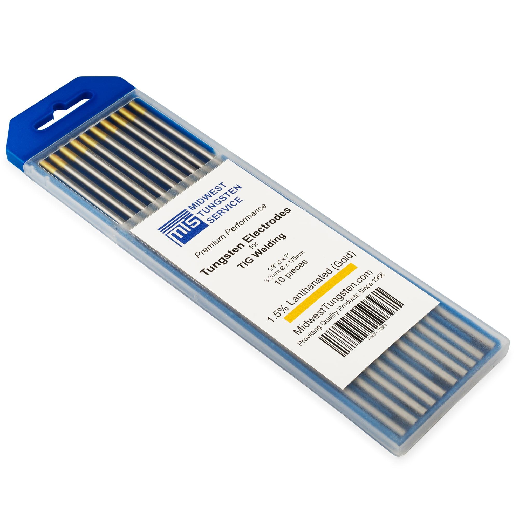 "TIG Welding Tungsten Electrodes 1.5% Lanthanated 1/8"" x 7"" (Gold, WL15) 10-Pack"