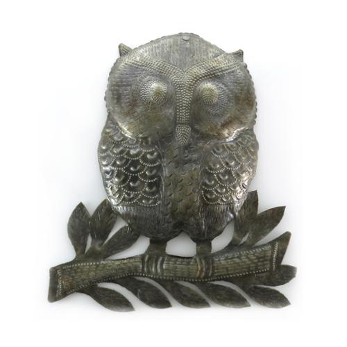 Sterling Arts Handmade Recycled Steel Drum Owl on a Branch Wall Art (Haiti)