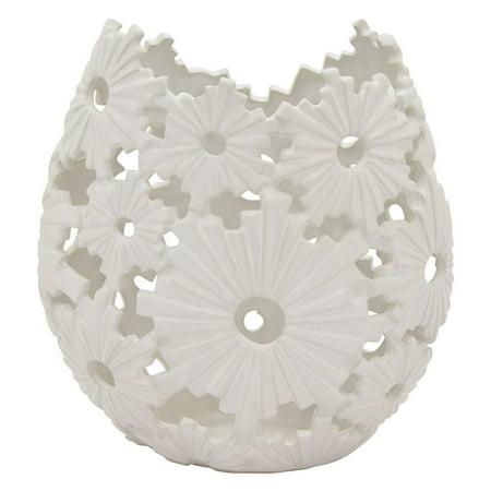 Three Hands White Coastal Ceramic Vase