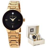 Anne Klein Quartz Black Dial Ladies Gold-Tone Watch Set