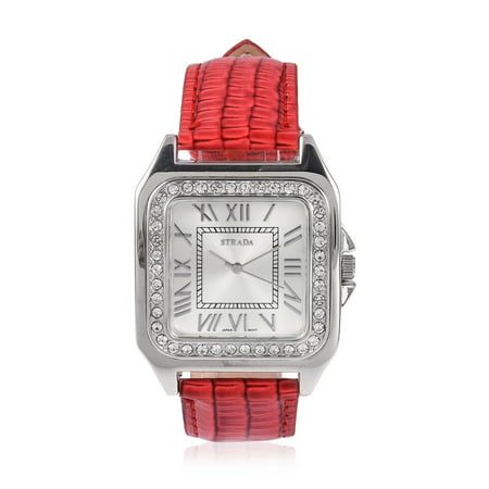 Water Resistant Sapphire Crystal Watch - White Crystal Japanese Movement Water Resistant Watch with Red Faux Leather Straps & Stainless Steel Back