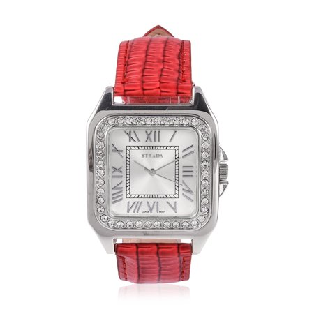 White Crystal Japanese Movement Water Resistant Watch with Red Faux Leather Straps & Stainless Steel Back Ct 1.2 Crystal Red Strap Watch
