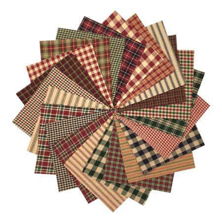 40 Rustic Christmas Homespun 6 inch Quilt Squares Charm Pack by JCS Fabric ()