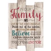 Wall Decor-Staggered Pallet-In Our Family (14 x 20.5)