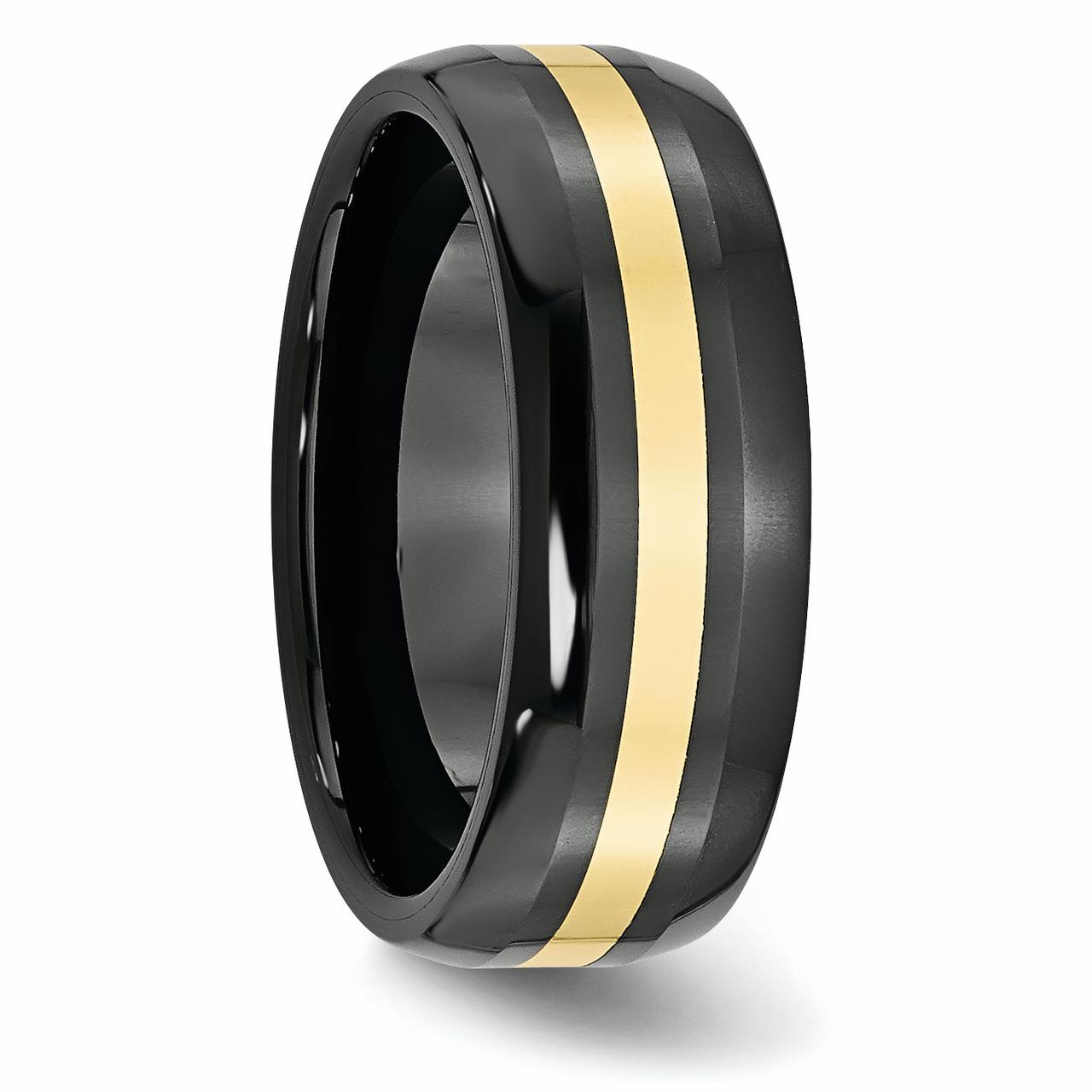 Ceramic Black with 14k Inlay 8mm Polished Band Ring 8.5 Size - image 1 de 6