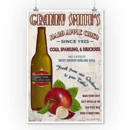 Granny Smith's Hard Apple Cider Vintage Sign - Lantern Press Artwork (9x12 Art Print, Wall Decor Travel Poster)