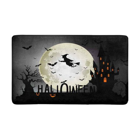 MKHERT Halloween Background of Witch On The Full Moon Doormat Rug Home Decor Floor Mat Bath Mat 30x18 inch - Floor 10 On 100 Floors Halloween