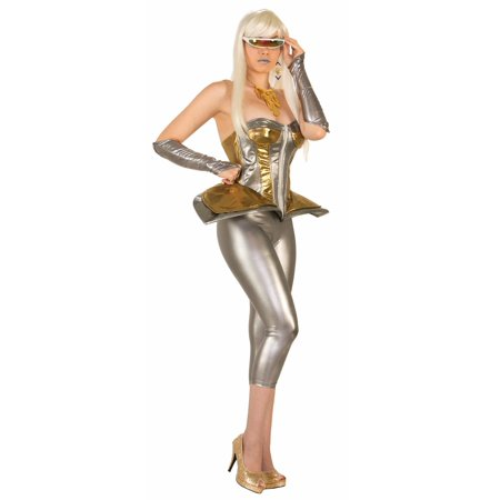 Futuristic Silver Gold Science Fiction Diva Halloween Womens Corset Costume