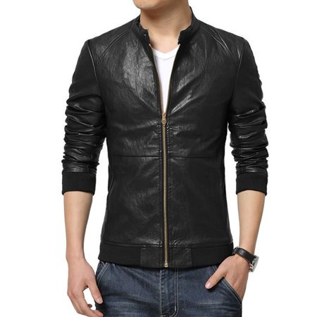 Men's Stand Collar Zip Up Front Slim Fit Two Slant Pockets PU Jacket