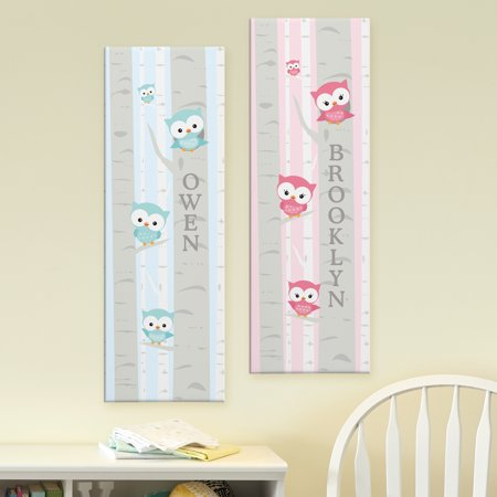 Personalized Little Owl Canvas, Blue