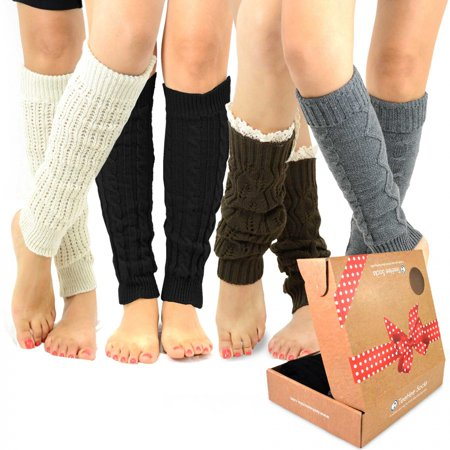 TeeHee Gift Box Women's Fashion Leg Warmers 4-Pack Assorted Colors (Assorted A)](Leg Warmers Band)
