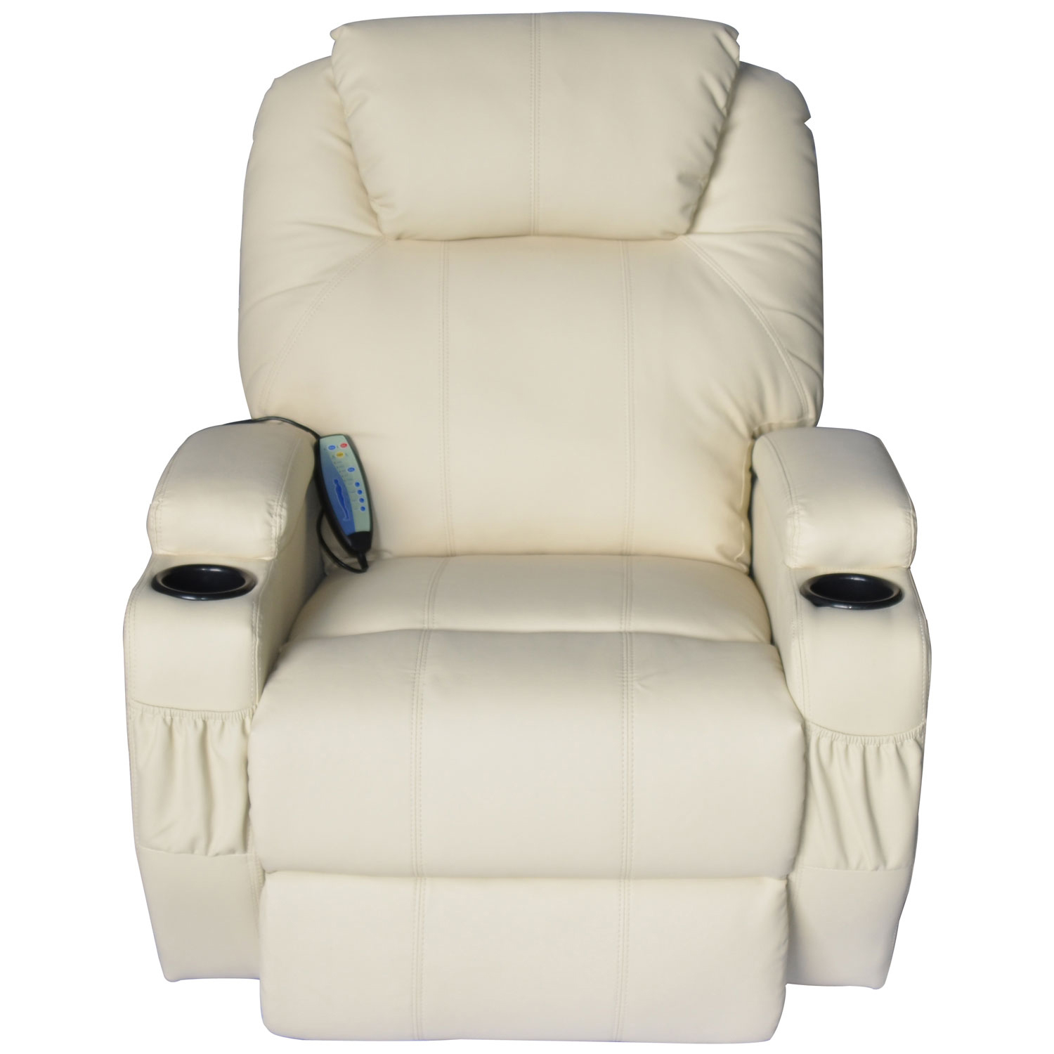 HomCom Deluxe Heated Vibrating PU Leather Massage Recliner Chair   Cream    Walmart.com