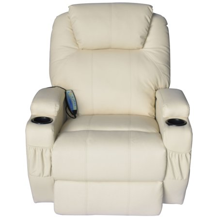 Homcom Deluxe Heated Vibrating Pu Leather Massage Recliner Chair   Cream