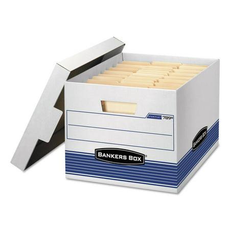 Stor/file Med-Duty Letter/legal Storage Boxes, Locking Lid, White/blue, 4/carton ()
