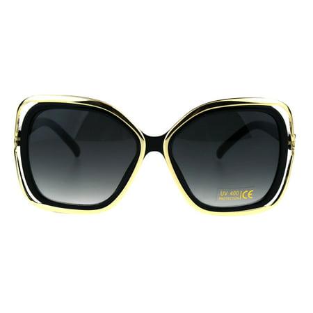 Womens Double Rim Frame Butterfly Diva Designer Fashion Sunglasses ...