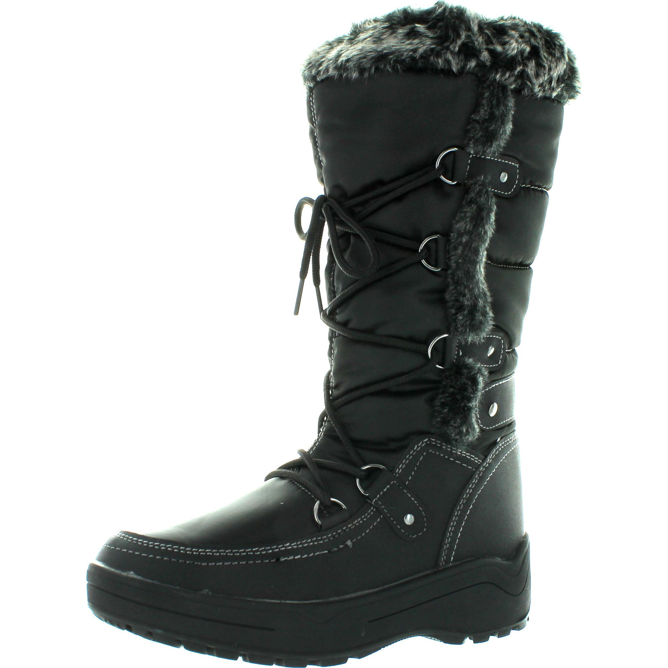 Nature Breeze Womens FROST-01 Lace Up Ankle Mid Calf Artic Warm Fur Lined Water Resistant Eskimo Snow Boots