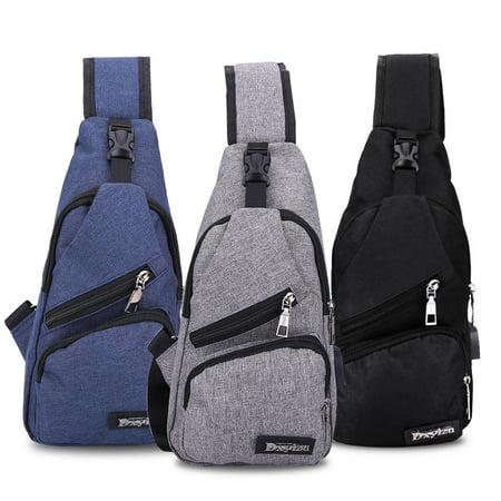 Sling Bag for Men, Shoulder Chest Pack Crossbody Bags for Women Men Girls Boys Travel Backpack with USB Charging Port