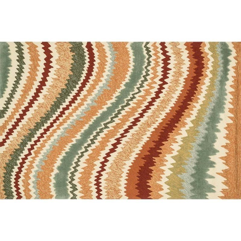 Loloi Enzo Lines EZ04 Indoor/Outdoor Area Rug - Spice