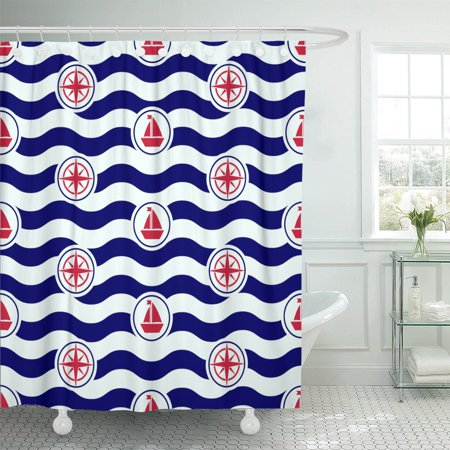 PKNMT Blue Preppy Maritime Mood Nautical Pattern And Waves Navy Shower Curtain 60x72 Inches
