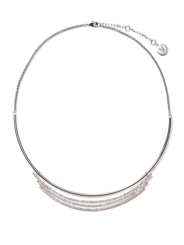 Silvertone and Cubic Zirconia Pavé Collar Necklace
