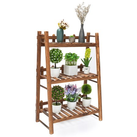 Audew 3 Tier Wooden Flower Stand Outdoor Rolling Flower