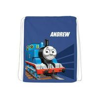 Personalized Thomas & Friends Tracks Blue Drawstring Bag