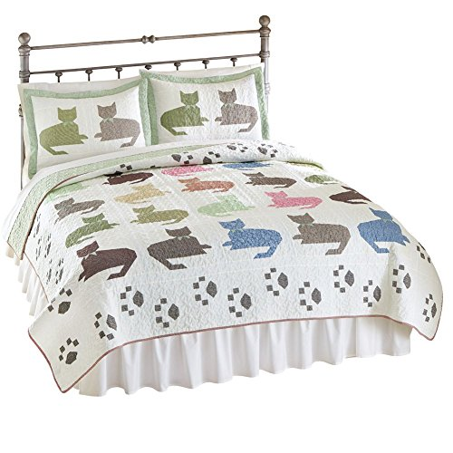 Collections Etc Reversible Colorful Cat Quilt, King, Multi