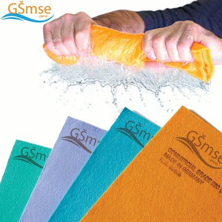 Premium Commercial Grade German Chamois Super Absorbent Drying Cleaner Cloth Guaranteed Best Shammy - Lifetime Replacement ( 260 Gram 20in x 28in) (Orange,