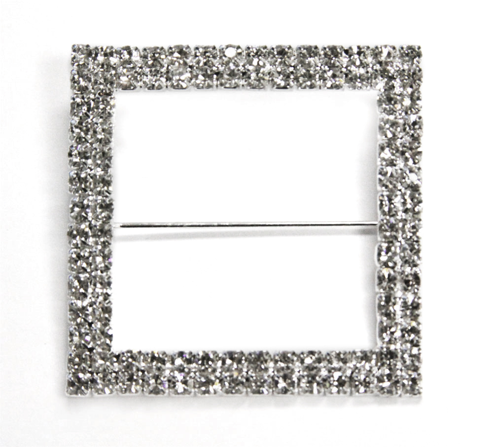 "50 Pieces, Square Diamond Rhinestone Metal Pin Sash Buckle Outer diameter approx. 2"" x 2"" square (inner... by Unbranded"