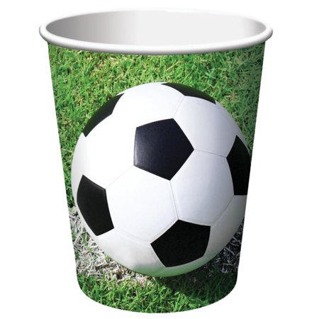 Club Pack of 96 Sports Fanatic Soccer Disposable Paper Hot and Cold Drinking Party Cups 9 oz.