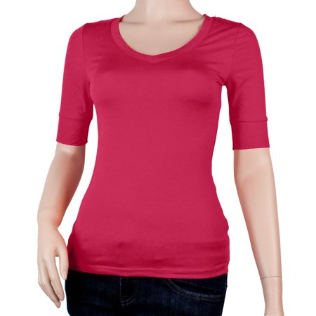 Women's Basic Elbow Sleeve V-Neck Cotton T-Shirt Plain Top-Plus Size Available (FAST & FREE SHIPPING)
