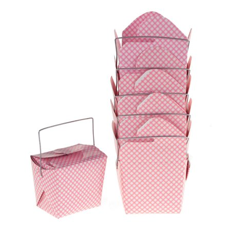 Checkered Take Out Boxes with Wire Handle,  Pink, 2-1/2-Inch,