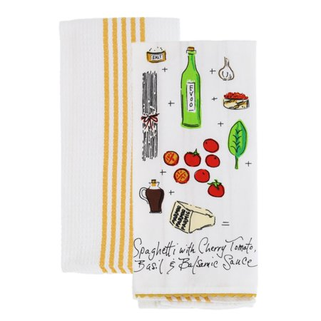 Rachael Ray Kitchen Dish Towel/Cloth (2 pk) - Use on Hands, Dry or Wet Messes/Spills - 100% Cotton - Includes Towel Decorated with Recipe & 1 Waffle Weave Towel