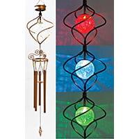 Spiral Wind Sculpture - CHIME WIND SOLAR SPIRAL LED CU