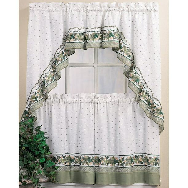 Cottage Ivy Kitchen Curtains Tiers