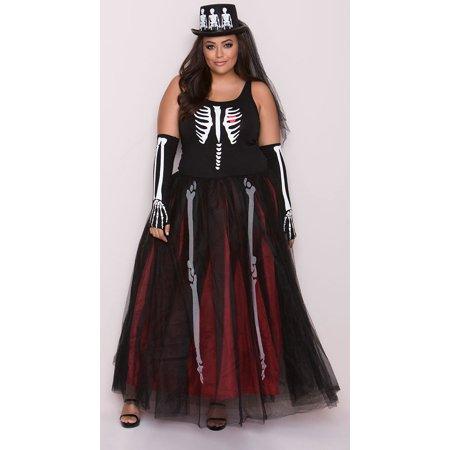 Plus Size Ms. Bones Skeleton Costume, Plus Size Skeleton Dress Costume - Plus Size Womens Skeleton Costume