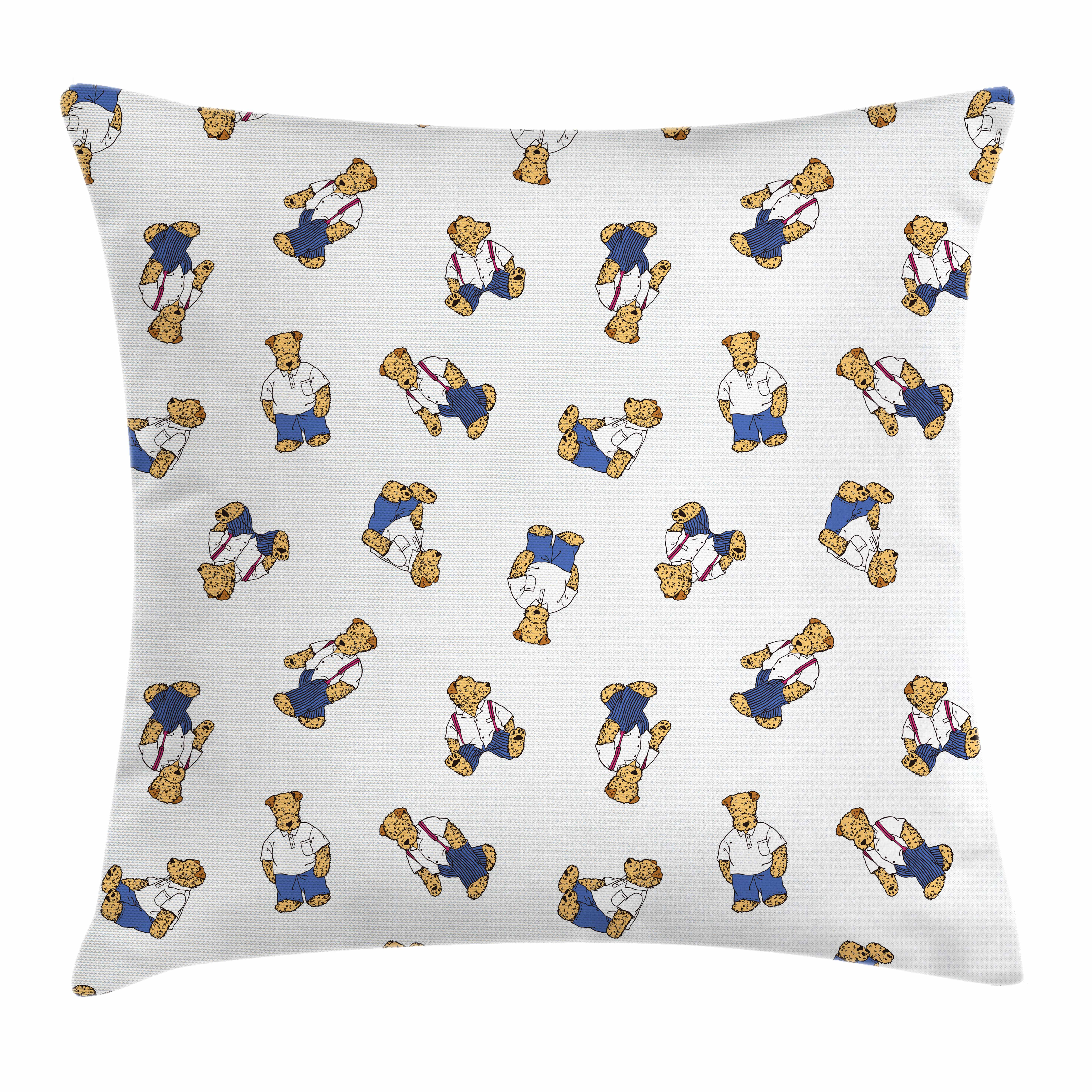 Kids Throw Pillow Cushion Cover, Cute Teddy Bear Style Dog on Nostalgic Polka Dots Childish Cartoon, Decorative Square Accent Pillow Case, 16 X 16 Inches, Violet Blue Pale Brown Black, by Ambesonne