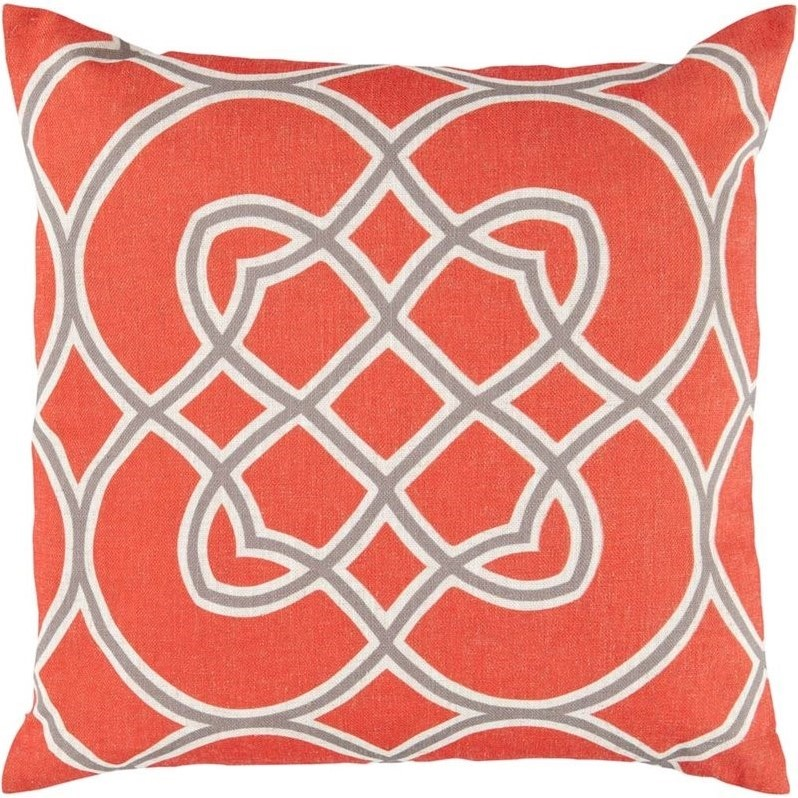 "Surya Jorden Poly Fill 22"" Square Pillow in Red and Gray"