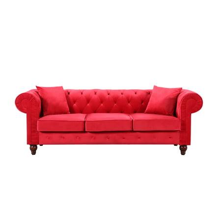 Vintage Style Velvet Chesterfield Sofa In Red