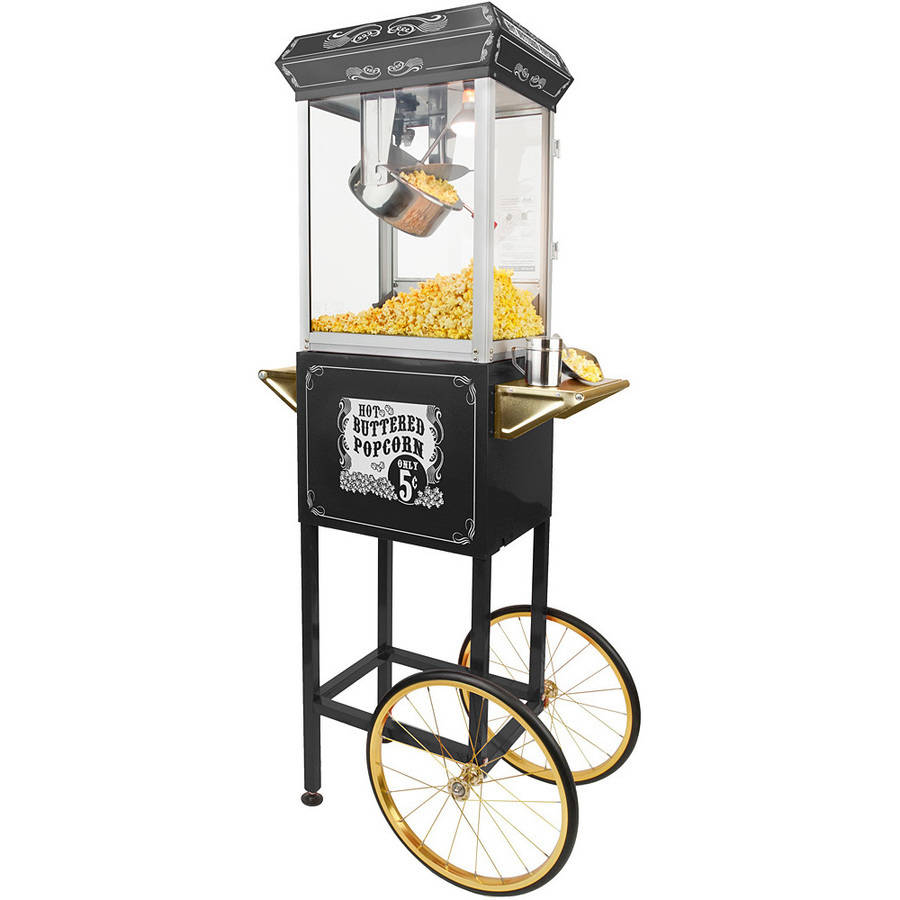 Full Size Carnival Style 8 oz Popcorn Maker Machine with cart, Black and Gold