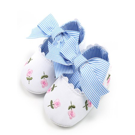 Baby Girl Embroidery Flower Fashion Toddler First Walkers Kid Shoes (Navy Flower Girl Shoes)