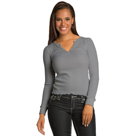 Sweet Vibes Junior Womens Thermal Tops Stretch V-Neck T-Shirt With Button Detail