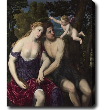 Idea Factory Paris Bordone 'A Pair of Lovers' Hand-painted Oil on Canvas - Blue