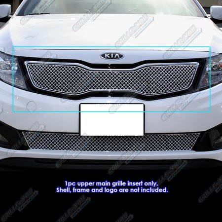 Compatible with 2011-2013 Kia Optima Hybrid SX EX Turbo Stainless Steel X Mesh Blitz Grille Grill