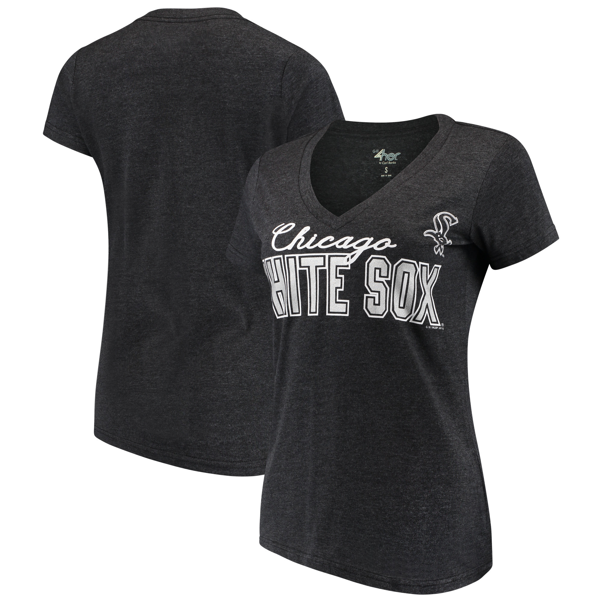 Chicago White Sox G-III 4Her by Carl Banks Women's Home Run V-Neck T-Shirt - Black