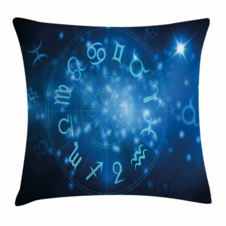 Astrology Throw Pillow Cushion Cover  Abstract Horoscope Wheel With Signs Aquarius Lion Taurus Libra  Decorative Square Accent Pillow Case  20 X 20 Inches  Navy Blue White And Sky Blue  By Ambesonne