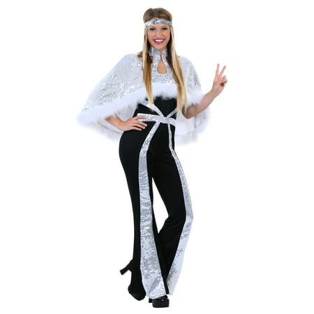 Dazzling Silver Disco Costume for Women (Customes For Women)
