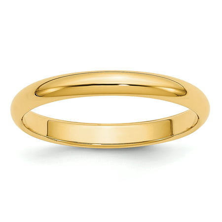 14k Yellow Gold 3mm Half Round Wedding Ring Band Size 7.00 Classic Domed Fine Jewelry Gifts For Women For Her - image 9 de 9
