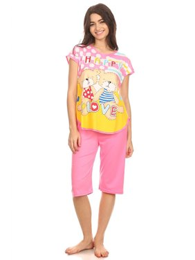 296d927717 Product Image 5005C Womens Capri Set Sleepwear Cotton Pajamas - Woman  Sleeveless Sleep Nightshirt Pink 16 XXL