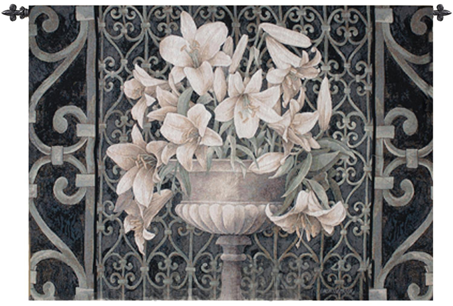 "Lis dans Urne Ornement Iron Gate Cotton Wall Art Hanging Tapisserie 35"" x 53"""